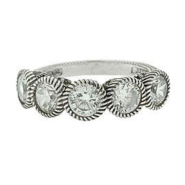 Judith Ripka Sterling Silver 5 Stone CZ Ring