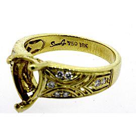 Simon G. Diamond Engagement Ring Semi Mount Setting Only for Pear Center sz 6.25