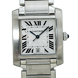 Cartier Tank Francaise 2302 Automatic Stainless Steel 28mm Mens Watch