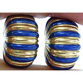 Cartier 18Kt Blue Enamel Vintage Huggie Clip on Earrings 22mm