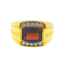 18k Yellow Gold Birks Garnet & Diamonds Men's Ring