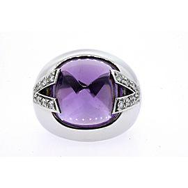 Versace Ring 18k White Gold Amethyst Diamond V size 6.75