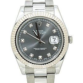 Rolex Datejust 116334 18K Fluted Bezel Rhodium Diamond Dial Box&Paper 41MM