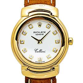 Rolex Cellini 6621 18k Gold White Factory Diamond Dial Quartz Ladies Watch 26MM