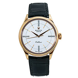 Rolex Cellini 50505 18k Rose Gold Automatic Mens Watch with Box/Paper