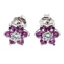 BH Effy Earrings Stud Pink Sapphire Diamond 14k White Gold Flower