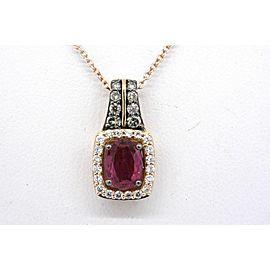 "Levian Pendant Ruby Oval Chocolate Diamond Necklace 14k Rose Gold 18"""