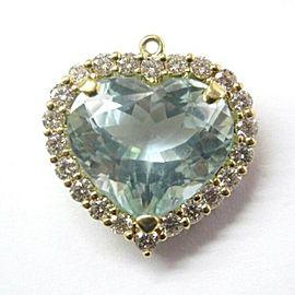 LeVian Aquamarine Diamond Pendant Solid Yellow Gold 18Kt 13.32CT E-F VS1 22mm