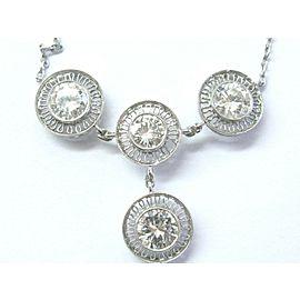 """Platinum Vintage Round Cut NATURAL Diamond 4-Stone Necklace 2.96Ct 16.5"""" E-VVS2"""