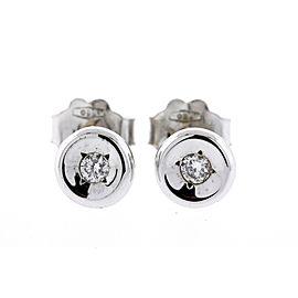 Roberto Coin Small Diamond Stud Earrings Bezel Set 18k White Gold Vintage 1226vi