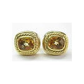 David Yurman 18KT Citrine Square Huggie Earrings 17.5mm 5.00CT