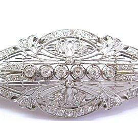 Fine Vintage 14Kt Old European Diamond White Gold Milgrain Pin / Brooch 1.60Ct