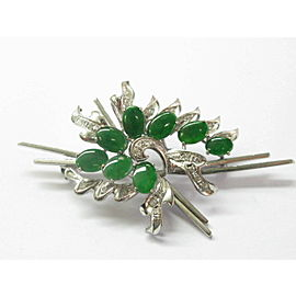 Jade Cabs & Diamond Brooch / Pin 18Kt White Gold 2.27Ct 3""