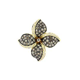 Levian Diamond Flower Pendant Necklace Chocolate White 2.5ctw 14k Yellow Gold