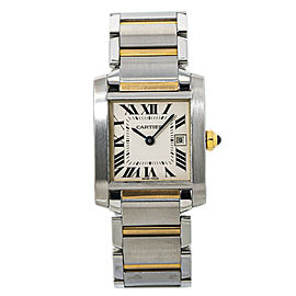 Cartier Tank Francaise Midsize 2465 18kTwo Tone Lady's Watch 25mm Box & Papers