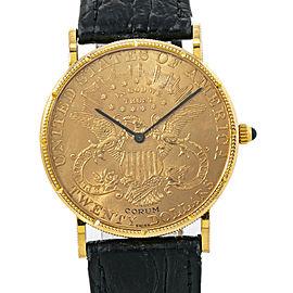 Corum 20 Twenty Dollars Double Eagle Yellow Gold Coin Year 1878 Mens Watch 35mm