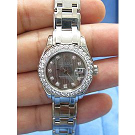 18Kt Rolex PearlMaster Black Mother Of Pearl White Gold Diamond Watch #80299
