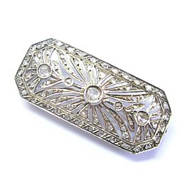 "Vintage 18Kt Rose & Table Cut Diamond White Gold Pin Brooch 2"" 1.40Ct"