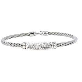 Charriol Bracelet 18k White Gold Stainless Steel Diamond Station Cable Bangle