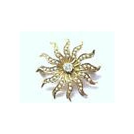 Fine Vintage Old European Cut Diamond Seed Pearls Pin / Brooch YG 14KT