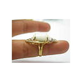 NATURAL Coral & Diamond Ring 18KT Yellow Gold 8.60CT