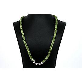 """Carrera Y Carrera Green Silk Cord Necklace Chain Braid 18k White Gold Clasp 18"""""""