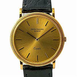 Patek Philippe Calatrava 3744 Men's Quartz Watch 18K YG Leather Band 32MM