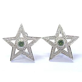 "18Kt Multi Color Diamond White Gold Star Earrings 1 1/4"" 2.35Ct"
