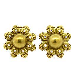 Kieselstein Cord Diamond Clip On Earrings 18k Yellow Gold Large Heavy Etruscan