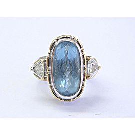18Kt NATURAL Gem Aquamarine & Diamond 2-Tone Jewelry Set Ring & Earring 23.39Ct