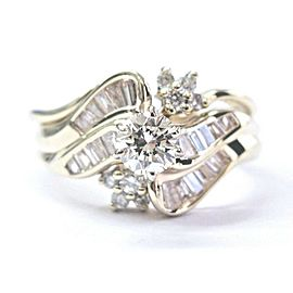 Round & Baguette Diamond Yellow Gold Engagement Ring 14KT 1.00Ct H-VVS2 SIZEABLE