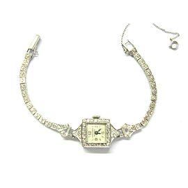 "Platinum Longines Vintage Diamond Watch .35Ct 6"""