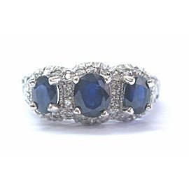 Natural Oval Sapphire Three Stone Diamond White Gold Engagement Ring 18Kt 1.65Ct