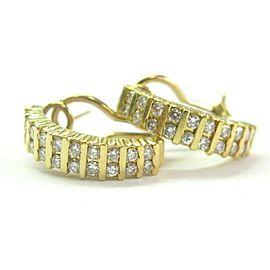 Natural Round Cut Diamond Yellow Gold Bar Setting Huggie Earrings 1.00Ct 14KT