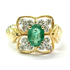 Oval Green Emerald & Diamond Cocktail Ring 14K Solid Yellow Gold 1.16Ct SIZEABLE