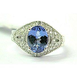 18Kt Natural Oval Tanzanite & Diamond White Gold Anniversary Ring 1.95Ct