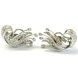 "18Kt Leaf Motif Diamond White Gold Huggie Earrings 1.36Ct 1.25"""