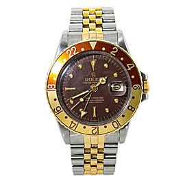 Rolex GMT-Master 1675 Matte Brown Nipple Dial Automatic Watch Two Tone 40MM