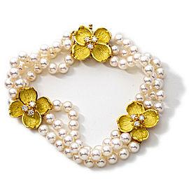 Tiffany & Co. Bracelet Diamond 18k Yellow Gold Dogwood Flower 3 Row Pearl