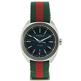 Gucci GG2570 Black Dial 41mm Green and Red Web Strap Stainless Steel Watch