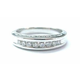 Platinum Round Cut Diamond Channel Jewelry Band Ring .60Ct