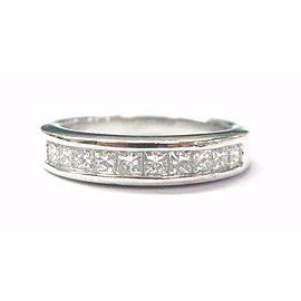 Platinum Princess Cut Diamond 10-Stone Band Ring .55Ct