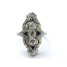 18Kt Vintage Old European Cut Diamond Sapphire 3-Stone Jewelry Ring 1.65CT
