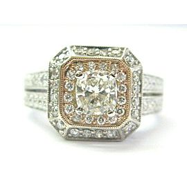 Split Shank Cushion Cut Diamond Engagement Ring 2-Tone 1.02Ct+1.00Ct GIA 14KT