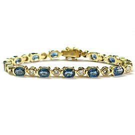 "Blue Sapphire & Diamond Tennis Bracelet 14Kt Yellow Gold 14.56Ct 7"""