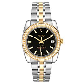 Tudor Classic Date Steel Yellow Gold Diamond Mens Watch 21023