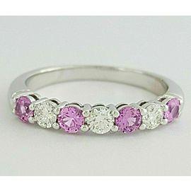 Tiffany & Co Embrace 3mm Shared Pink Sapphire Diamond Eternity $5090 wTax Sz 6