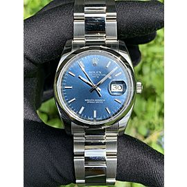 Rolex 115200 Oyster Perpetual Date 34mm Blue Dial Stainless Steel Watch