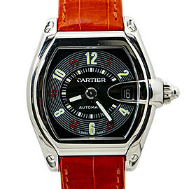 Cartier Roadster 2510 W62002V3 Orange Leather Strap Men's Automatic Watch 37MM