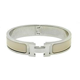 Hermes Clic H Beige Enamel Palladium Plated Cuff Bracelet PM
